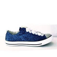 Womens Sparkly Navy Blue Glitter Crystals Converse All Stars low top wedding bride shoes