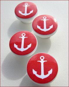 Kids Dresser Knobs - Drawer Pulls - Nautical Knobs  - Anchor - Red - Dresser drawer Knobs on Etsy, £3.05