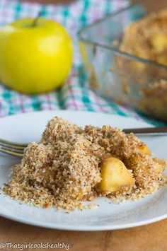Easy apple crumble pie made with a ground almond topping (apple crisp)