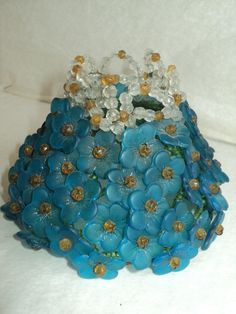 Antique Vtg Czech Glass Beaded Flower Shade Light Topper Bulb Cover