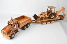 Wooden Toy Trucks, Scroll Saw Patterns Free, Model Building, Wood Toys, Tractors, Woodworking, Wood, Strollers, Trains