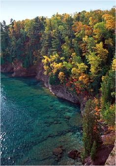 Presque Isle, Michigan. A beautiful rocky coastline with water so clear you can see the bottom.