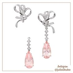 Brinco em ouro branco, diamantes e quartzo rosa. Bridal Collection Julio Okubo by @malcade #jewellery #jewelry #handmade #pearls #perolas #diamonds #juliookubo #noivas #bridal #joiasparanoivas #luxury #iguatemisp