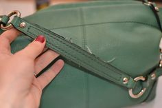 How to fix a fraying strap on a leather/faux leather purse using Edge Kote to re-cover the fraying edge.