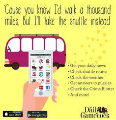 The Daily Gamecock App #App #DG #Shuttle #Transit #Songs ©UofSC StudentMedia 2015