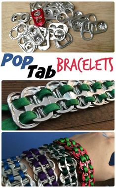 Such a cool idea for old Pop Tabs. Easy too. - Fun Crafts For Kids - Fun Soda Pop Tab Bracelets – these are funky upcycled bracelets that will appeal to both boys and - Arts And Crafts For Teens, Art And Craft Videos, Easy Arts And Crafts, Fun Crafts For Kids, Diy Projects For Teens, Diy For Teens, Diy For Kids, Teen Crafts, Crafts For Camp