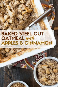 Make a batch of this hearty Baked Steel Cut Oatmeal with Apples and Cinnamon recipe and enjoy breakfast all week long! Make a batch of this hearty Baked Steel Cut Oatmeal with Apples and Cinnamon recipe and enjoy breakfast all week long! Baked Oatmeal Recipes, Baked Oats, Cinnamon Recipes, Oats Recipes, Apple Recipes, Cooking Recipes, Oatmeal Breakfast Recipes, Baked Oatmeal Casserole, Apple Breakfast
