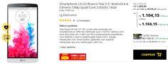 "Smartphone LG G3 Branco Tela 5.5"" Android 4.4 Câmera 13Mp Quad Core 2.45Ghz 16Gb << R$ 110415 >>"