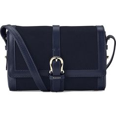ASPINAL OF LONDON Buckle mini nubuck shoulder bag (£295) ❤ liked on Polyvore featuring bags, handbags, shoulder bags, navy, navy shoulder bag, mini handbags, aspinal of london, buckle purses and buckle handbags