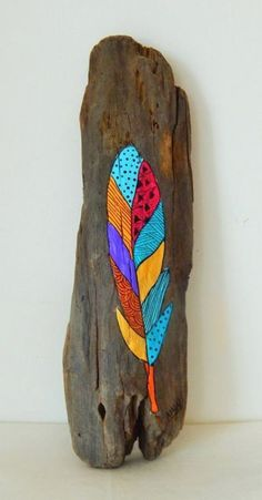 Original hand painted driftwood by Malu Castro Title: Vuela Dimensions: x 11 inches - 9 x 29 cm Medium: Acrylic paint on driftwood All my Original hand painted reclaimed wood by Malu Castro Title: Driftwood Planters, Driftwood Signs, Painted Driftwood, Driftwood Projects, Driftwood Art, Driftwood Ideas, Wood Feather, Painted Sticks, Recycled Wood