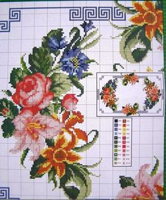Ukrainian Cross Stitch Embroidery Flower Patterns for Tablecloth Pillow 57 Varia Bead Embroidery Tutorial, Embroidery Flowers Pattern, Embroidery Patterns Free, Counted Cross Stitch Patterns, Flower Patterns, Cross Stitch Embroidery, Cross Stitch Needles, Cross Stitch Rose, Cross Stitch Flowers