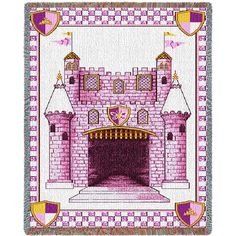 Castle Art Tapestry Throw, Pink