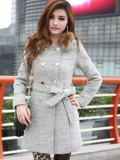 Charming Light Gray Terry Double Breasted Women's Coat