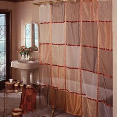 Drapery Sheer Fabric | Excell Sheer Stripe Shower Curtain Fabric Shower Curtains