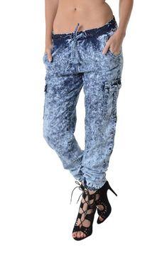 Women's Acid Wash Cargo Jogger Pants RJJ102-1 - C14B