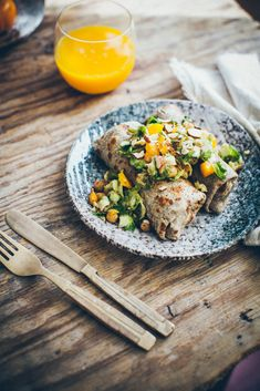 Buckwheat pancakes stuffed with Brussels sprouts, pumpkin and chickpeas