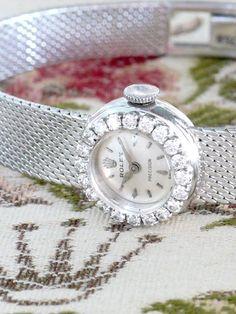 ROLEX(ロレックス) ホワイトゴールドとダイヤのアンティークウォッチ Rolex Watches, Watches For Men, Ladies Watches, Jewelry Watches, Jewelry Necklaces, Beautiful Watches, Beautiful Ladies, Art Deco Watch, Vintage Diamond