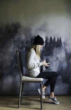 fog / trees mural