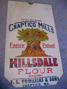 "NOS Vintage 1950's Original Bright Artwork  10lb ""Hillsdale Flour"" Chaptico Md."