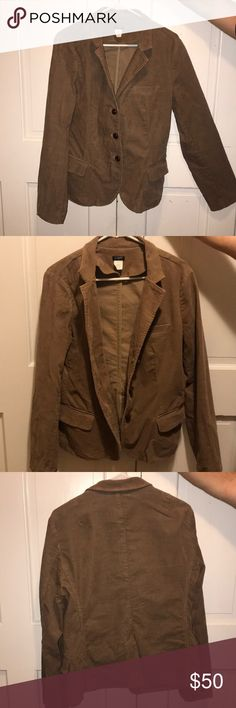 J. Crew Corduroy blazer J. Crew factory corduroy brown blazer . Like new! Size- large. Button detail on the sleeves.   1st photo is the style not exact color. J. Crew Factory Jackets & Coats