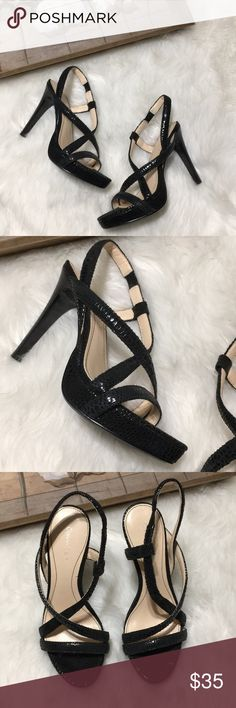 Calvin Klein Prarie Black Snake Skin Heels Sz 6M Super chic and stylish Calvin Klein Black Snakeskin Print straps heels size 6M in excellent gently used condition. Stunning and the style name is Prarie Calvin Klein Shoes Heels