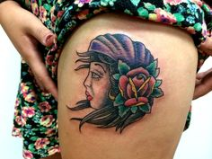 Traditional gypsy tattoo with rose and bandana by Ethan Pease. Lucky 13 RVA.