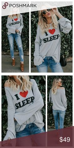 """🆕️ """"I Love Sleep"""" gray long sleeve top New """"i love sleep"""" graphic print heather gray oversized long sleeve top.  Features long bell sleeves, raw-cut edge finish. Made with a medium weight French Terry fabric, soft and drapes well.  85% polyester 13% Rayon 2% spandex Made in USA   *please allow 3-7 business days for this item to ship Tops"""