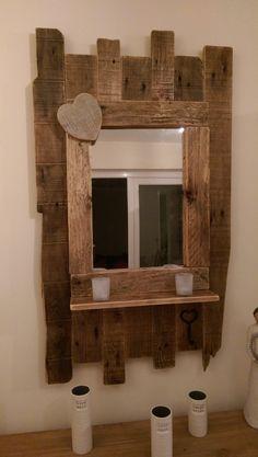 Handmade rustic reclaimed pallet & barnwood mirror by ConwyRustics