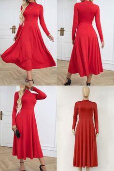 Casual Loose Print High collar Long sleeve Maxi Dresses, Maxi Dresses. @Official_TDMercado ✔ Free Worldwide shipping ✔ Easy Returns #fashion #style #maxidress #casual #fallinlover #fall #women #falloutfits