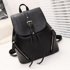 leather backpack, leather black fashion school bag - Crystalline