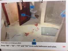 Oscar's bathroom displaying the crime scene with blood on the floor