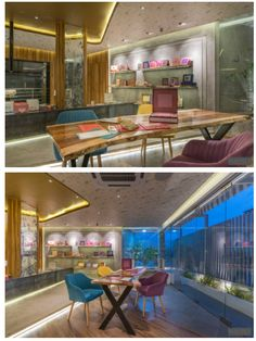 Showroom Interior Design, Boutique Interior, Vertical Green Wall, Square Columns, Mirror Panels, Long Walls, French Classic, Waiting Area, Boutique Stores