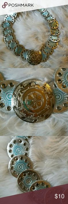 """VTG- 80'S BELT Silver circles with mystical blue inside....big round silver medallion that closes with a easy pic to close.....white on other side....totally vintage. ...maybe spruce up an outfit with this wonder woman looking belt...size : 45"""" long Vintage Accessories Belts"""