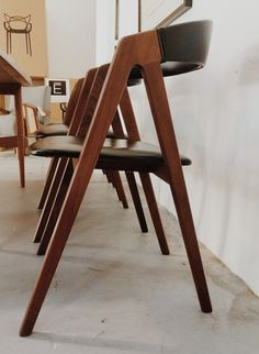 American Vintage. Danish Teak + Leather dining chairs