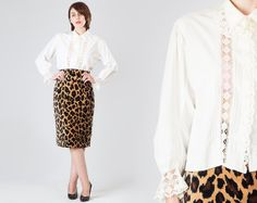 ALE 50% OFF Vintage 1950s Cotton Lace Edwardian Blouse / White Semi Sheer Romantic Shirt / Button Up Boho Girly Femenine Medium M Blouse  Ask a Question $36.92