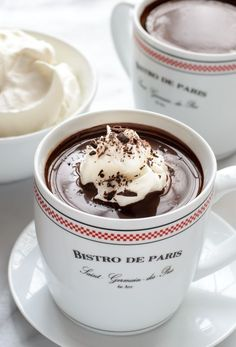 French Hot Chocolate | The most decadent dark hot chocolate recipe that tastes just like the French hot chocolate found in Paris cafes. Intense rich and absolute heaven for any chocolate lover. This is a classic dark European-style hot chocolate @WellPlated