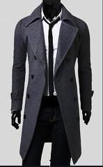 Man Spring New Fashion Trench Coat Men Spring Long Coat Suit Men Wool Coat Men Overcoat Outerwear - gray / L