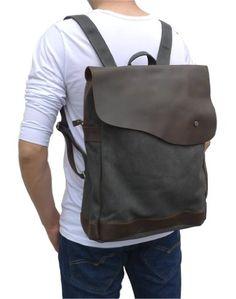 Amazon.com: Otium 30201GRY Canvas Genuine Leather BagPack: Clothing ($49.00) - Svpply