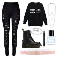 """""""Black soul"""" by mollyrox-1 ❤ liked on Polyvore featuring Dr. Martens, Givenchy, Lucky Brand, Marc Jacobs and Orciani"""