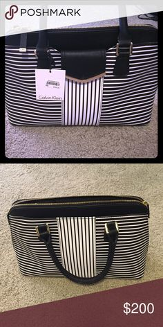 Brand new unused Calvin Klein purse Striped black and white bag with short handles and gold trim Bags Shoulder Bags