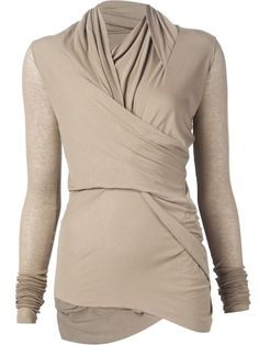 Dusty beige cotton wrap long sleeve knitted top from Rick Owens Lilies. Item ID: 11431896 Composition: Cotton 100% Measurements: Fits true to size   Italian Sizing
