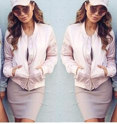 Pink bomber jackets and pink sunglasses are in! Apply code DREAM10 for 10% off your entire order.