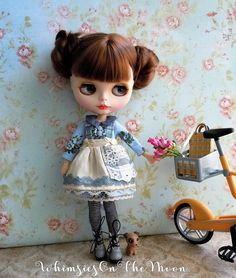 Blythe or Pullip Mori Girl 3 Pc Outfit. Includes Blue Floral