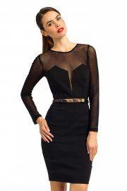 Propuesta de Little Mistress de vestido negro. Nos encanta el detalle de las transparencias! #moda #negro #black #blackdress #vestido #fashion #chic #trend