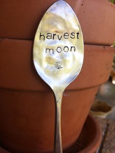 Harvest Moon  Stamped Garden Marker  Fall by SweetThymeDesign $12  https://www.etsy.com/listing/207431810/harvest-moon-stamped-garden-marker-fall?ref=shop_home_active_1
