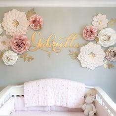 Baby girl nursery room - Paper Flower Template PDF and SVG Mini Rose Rose Nursery, Flower Nursery, Nursery Room, Girl Nursery, Girl Room, Nursery Sets, Girls Flower Bedroom, Nursery Name Decor, Ballerina Nursery