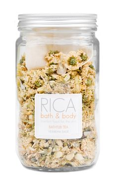 Bathtub Tea: Verbena Sage This 3-in-1 bath time treat is a botanical medley of eight skin-softening herbs including sage, jasmine, calendula and lavender. Fill the reusable muslin bag with the bath tea, steep and relax — the pouch can then be used as an herb-filled exfoliating washcloth.
