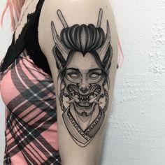 Japan Tattoo Design, Clock Tattoo Design, Tattoo Design Drawings, Tattoo Designs, Asian Tattoos, Black Ink Tattoos, Black And Grey Tattoos, Body Art Tattoos, Japanese Demon Tattoo