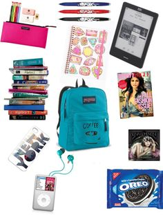 """what's in my school bag??"" by gingerbreadsel ❤ liked on Polyvore"