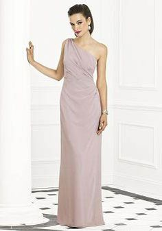 Floor Length Chiffon Sheath/ Column One Shoulder With Ruching Bridesmaid Gown - Angeldress.co.uk